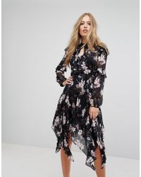 Forever New - Floral Midi Dress With Frill Detail And Hanky Hem - Lyst