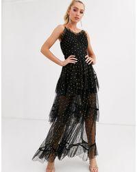 LACE & BEADS Polka Dot Tiered Maxi Dress - Black
