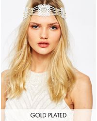 Olivia The Wolf - Livia The Wolf Lace Pearls & Gold Crystal Headband - Lyst
