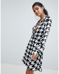 ASOS - Soft Tux Wrap Mini Dress In Large Houndstooth With Long Sleeves - Lyst