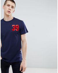 G-Star RAW - Camiseta azul marino de algodn orgnico con logo estampado de - Lyst