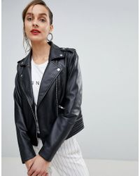 SELECTED - Femme Leather Biker Jacket - Lyst