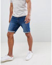 Mango - Man Denim Shorts In Dark Blue - Lyst