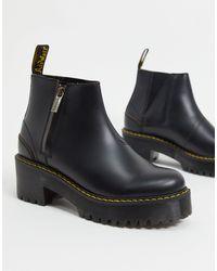 Dr. Martens Черные Ботинки Челси На Каблуке С Молниями -черный