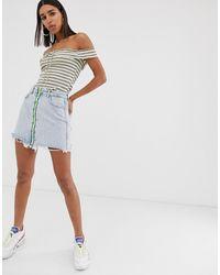Bershka Zip Front Skirt - Blue