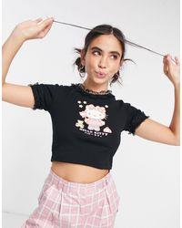 "New Girl Order - Укороченная Футболка С Оборками По Краям И Принтом ""fairy Kitty"" X Hello Kitty-черный Цвет - Lyst"
