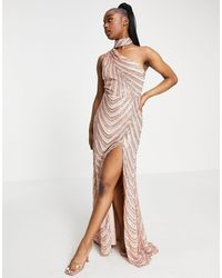 Goddiva Vestido largo color con abertura hasta el muslo y gargantilla - Metálico