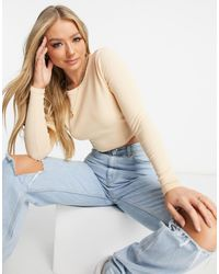 ASOS Long Sleeve Fitted Crop Top With Ruched Sides - Natural