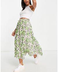ASOS Pleated Midi Skirt With Shirred Waistband - Green