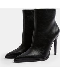 TOPSHOP Pointed Toe Zip Boots - Black