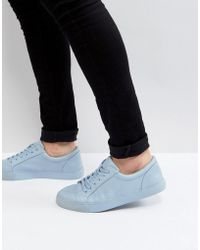 ASOS - Lace Up Trainers In Pastel Blue Block - Lyst
