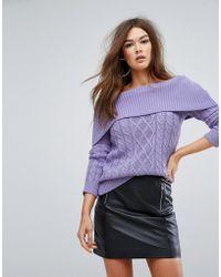 Boohoo - Cable Knit Bardot Jumper - Lyst