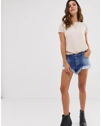 One Teaspoon Rollers Low Waist Relaxed Fit Short With Raw Hem - Blue