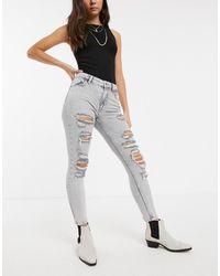 Bershka – Distressed-Skinny-Jeans - Grau
