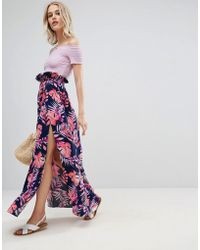 ASOS - Maxi Skirt With Belt In Print - Lyst