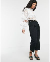 Sister Jane Tailored Cigarette Pants With Ornate Waistband - Black