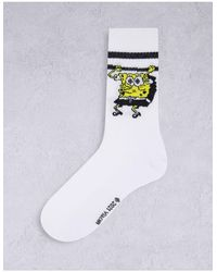 ASOS Calzini sportivi con stampa di SpongeBob - Bianco
