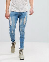 Boohoo - Skinny Jeans With Panels And Rips In Light Wash - Lyst