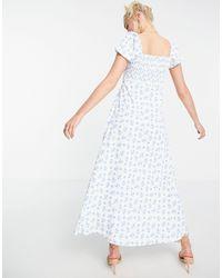 In The Style Белое Платье Миди С Вырезом Сердечком, Разрезом До Бедра И Цветочным Принтом X Billie Faiers-многоцветный