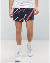 ASOS - Slim Elasticated Waist Shorter Shorts In All Over Line Print - Lyst