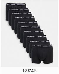 Jack & Jones 10 Pack Trunks With Rainbow Waistband - Black