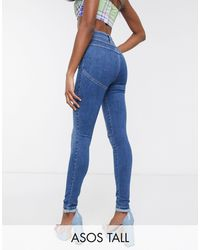 ASOS Asos Design - Tall - Hourglass - Liftende En Vormende Skinny Jeans - Blauw