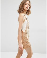 First & I - Chevron Dungaree Playsuit - Lyst