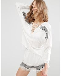 First & I - Tie Front Blouse - Lyst