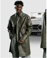 ASOS Faux Leather Longline Trench Coat - Multicolour