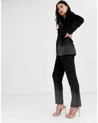 Fashion Union Бархатные Брюки Из Комплекта Со Стразами -черный
