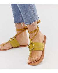 e3cb7423fab9 ASOS - Wide Fit Vantage Leather Ring Detail Tie Leg Flat Sandals In Mustard  - Lyst
