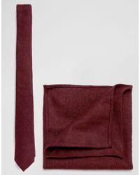 ASOS Ensemble cravate et pochette au fini texturé - Bordeaux - Rouge