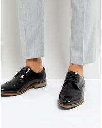 ASOS - Brogue Shoes In Black Polish Leather - Lyst