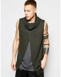 ASOS Sleeveless Sweater With Cowl Neck And Wrap Front - Green