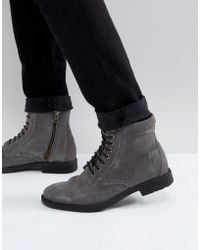 KG by Kurt Geiger Kg By Kurt Geiger Military Lace Up Boots In Grey - Gray
