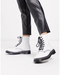 Dr. Martens Белые Кожаные Ботинки Pascal-белый - Многоцветный