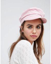 Monki - Pink Cord Baker Boy Hat - Lyst