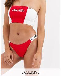 Ellesse Exclusive High Leg Bikini Bottom - Red