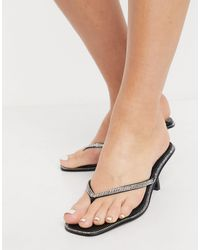 Glamorous Embellished Thong Sandals - Black
