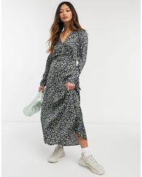 Vero Moda Платье Макси С Завязкой Сбоку И Темным Цветочным Принтом -многоцветный
