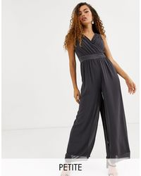 TFNC London Bridesmaid Bow Back Jumpsuit - Gray