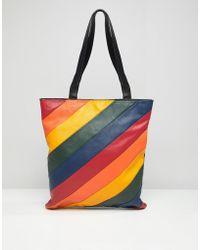 Warehouse Leather Shopper Bag In Rainbow Stripe - Multicolour