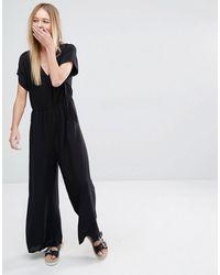Monki Wide Leg Jumpsuit - Black