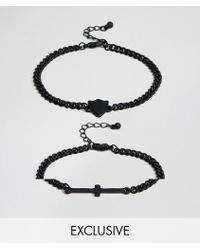 Reclaimed (vintage) - Inspired Cross Bracelet In 2 Pack Exclusive To Asos - Lyst