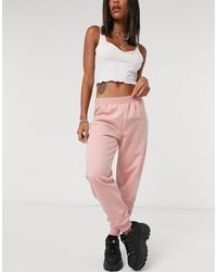 TOPSHOP Shirred Waist Track Trousers - Pink