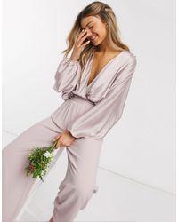 TFNC London Bridesmaids Long Sleeve Sateen Wrap Front Top - Pink