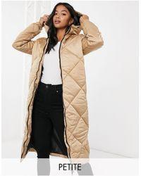 Brave Soul Jaz Satin Longline Puffer Jacket - Natural