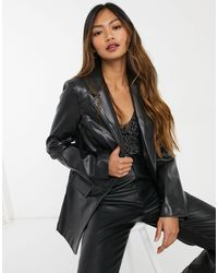 Glamorous Relaxed Faux Leather Blazer - Black