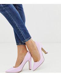 New Look Patent Block Heel Court Shoe In Lilac - Purple