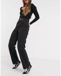Monki Taiki - Jean mom taille haute en coton biologique - Délavage noir